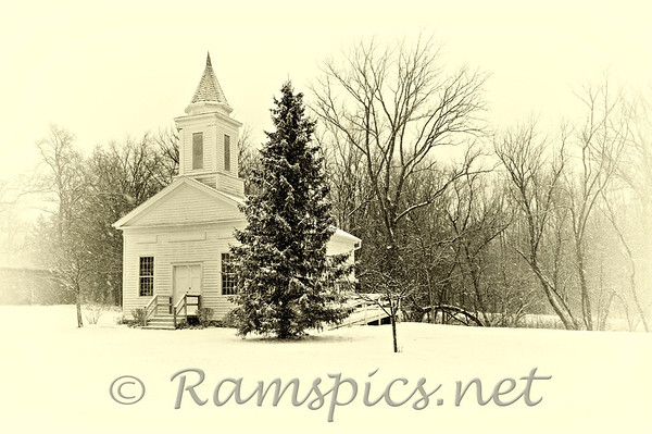 Historic 1845 Eaton County (MI) Courthouse on the banks of the Battle Creek River in Charlotte, Michigan. Photograph was taken on Christmas eve 2012. Processed similar to vintage photographs.