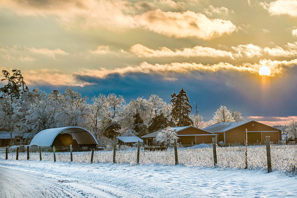 Tirrell Farm one of the most popular images of 2013. Photograph taken during the epic ice storm, on Christmas Eve.